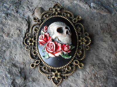 $25.06 • Buy Skull And Roses (hand Painted) Cameo Pendant - Quality!!! Grateful Dead
