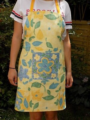 Quality Handmade Ladies' Apron Blue & Yellow Floral Cotton Fabric Full Length • 17.95£