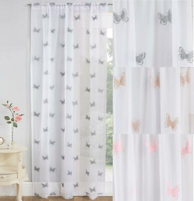 £14.49 • Buy One Single BUTTERFLY Embroidered Voile Curtain Slot Top Header Ready Made Panels