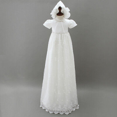 £28.99 • Buy Tradition Baby Girls Long White Lace Christening Gown Bonnet Size 0-18 Months