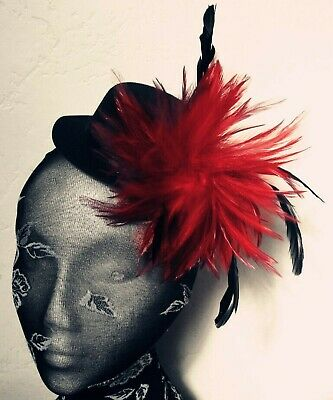 Bright Red Feather Black Mini Top Hat Fascinator Headpiece Fancy Dress Hair Clip • 6.90£