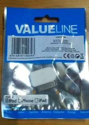 £2.19 • Buy 30 Pin Male To Micro USB B Female Adapter For IPhone 4 4s IPad IPod  WHITE
