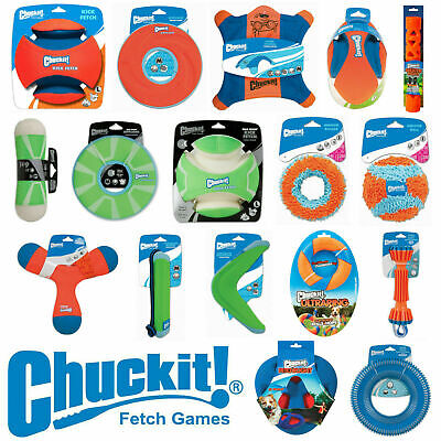 Chuckit Dog & Puppy Toys Fetch Throw Tug Bounce Frisbee Boomerang Tumbler Balls • 7.95£