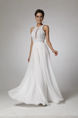 AU127.87 • Buy New Special Occasion Formal SHEER Rhinestones Beaded Long Evening Prom Dress