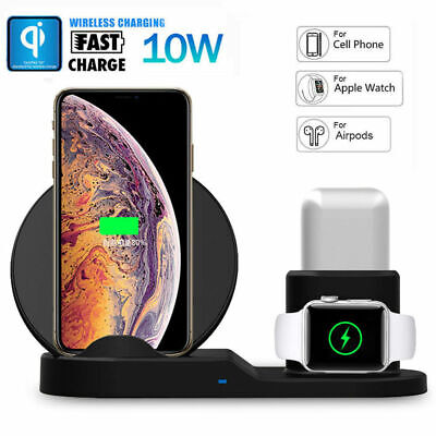 $ CDN28.27 • Buy For Apple Watch Series 1/2/3/4  Airpods  3in1Qi Wireless Fast Charger Stand Dock