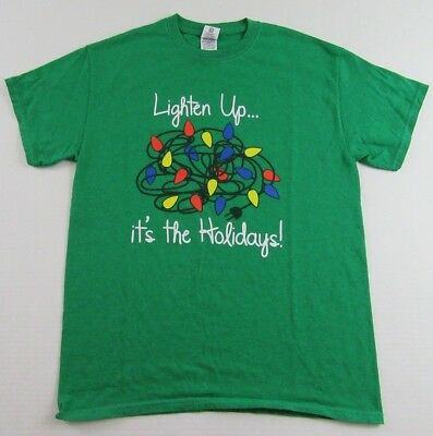 £9.20 • Buy Lighten Up....Its The Holidays! Christmas Lights Tangled Up Green T Shirt Size M