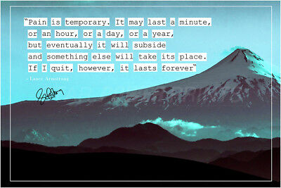Lance Armstrong Quote Photo Print Poster - Pre Signed - Pain Is Temporary • 19.99£