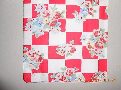 £1 • Buy One Cath Kidston Daisy Rose Check Red Luxury Design Decoupage Paper Napkin