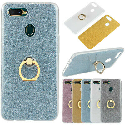 AU5.04 • Buy For OPPO F9 A3S AX5 A7 R15 R17 Soft Silicone Case Bling Glitter Ring Stand Cover