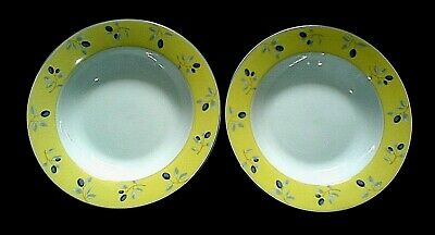 £10.99 • Buy ROYAL DOULTON Blueberry 8½ Inch Blue Yellow Rimmed Bowls X2 C2005 (6 Available)