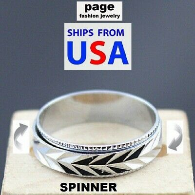 $3.99 • Buy Silver  Spinner  Band Fashion Design Ring Stainless Steel Jewelry Size 6-11 #1