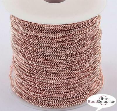 4 Mtrs ROSE GOLD PLATED FINE CURB CHAIN 3mm X 2mm CH12 • 3.59£