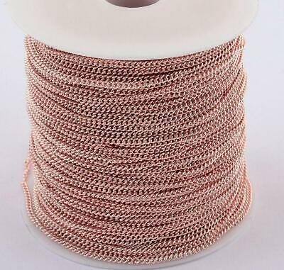 4 Mtrs ROSE GOLD PLATED FINE CURB CHAIN 3mm X 2mm CH12 • 3.99£