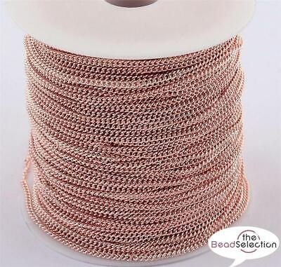 £2.59 • Buy Mtrs ROSE GOLD PLATED FINE CURB CHAIN 3mm X 2mm CH12