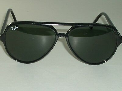 25be58e742343 Bausch   Lomb Ray-ban W0325 Shiny Black G15 Uv Cats 5000 Ski Aviator  Sunglasses