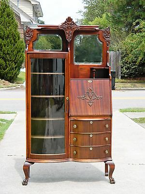 $1375 • Buy Mahogany Side By Side Desk Bookcase Display Cabinet Circa 1910