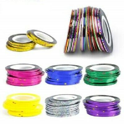 Nail Sticker Rolls Striping Tape Nail Art Plain / Holographic - 45 Colours Uk • 1.45£