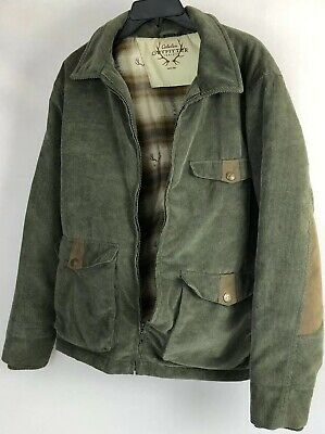 80fb0cf702df3 CABELAS MENS Medium FULL ZIP Corduroy JACKET LINED ELBOW PATCHES Outfitter  Ser • 28.88$