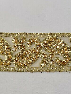 INDIAN GOLD CRYSTALS PAISLEYS EMBROIDERED ON FINE FABRIC LACE/TRIM - 1 Metre  • 2.95£