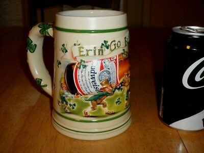 $ CDN53.34 • Buy BUDWEISER BEER- St. PATRICK'S DAY  ERIN GO , Handcrafted Ceramic Beer Stein,1998