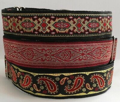 £12.50 • Buy Martingale Dog Collar Red Gold Paisley Greyhound Lurcher Saluki Whippet Podenco