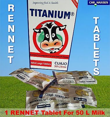 10 X  Rennet Tablets Cuajo Titanium Vegetarian Coagulant For Any Cheese Making  • 14.99£