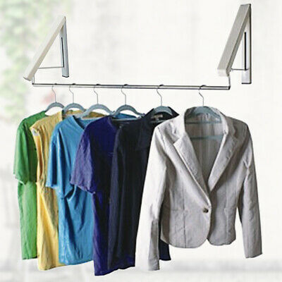 £9.59 • Buy 2 X Stainless Folding Wall Hanger Laundry Rack Mount Retractable Clothes New Hot