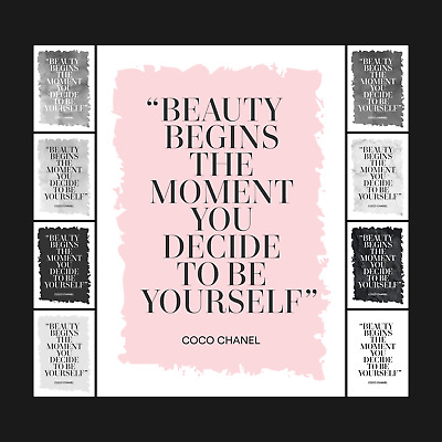 £11.30 • Buy Coco Chanel Beauty Typography Designer Quote Poster - Art Print - A5 A4 A3 A2 A1
