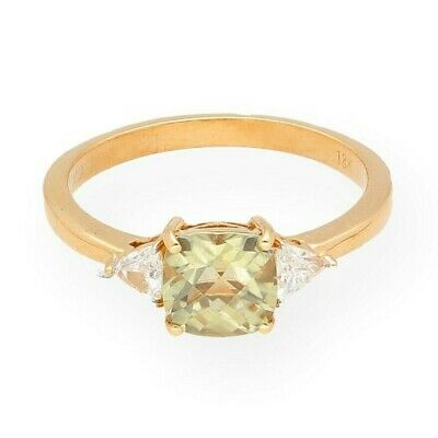£499 • Buy 18Ct Yellow Gold Cushion Cut Diaspore Solitaire W/ Diamond Accents Ring (Size S)