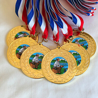 £8.25 • Buy 6 Fishing Medals & Ribbons, Gold Fishing Medals, Trophy, Award, Fishing Centre