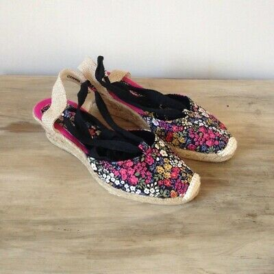 Padders Floral Espadrille Wedge Sandals Size 3 • 14£