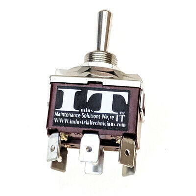 IndusTec 20 AMP DPDT - 6 1/4 PC Pin Toggle Switch Maintained 3 Position Heavy • 6.75$