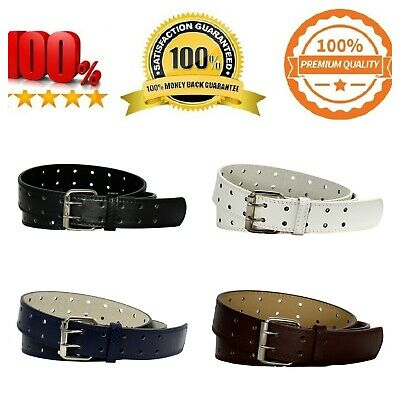 $12.99 • Buy Double Prong 2/Row Leather Dress Belt For Men (2190) - 4 Colors