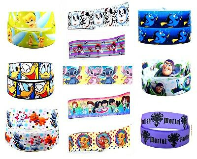 2 X Metres 22mm Ribbon For Hair Cake Craft Disney Character Polyester (c) • 2.99£