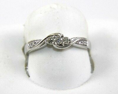 $400 • Buy Round Diamond Bypass Infinity Curve Cluster Ring Band 14K White Gold .15Ct