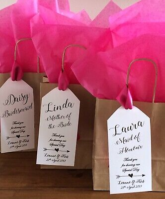 Personalised Brown Paper Favour Bag/Gift/Wedding/Hen/Christening/Party (Tag) • 1.10£