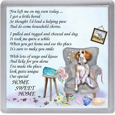 Beagle Dog Coaster  HOME SWEET HOME Poem ....  Novelty Gift By Starprint • 3.75£