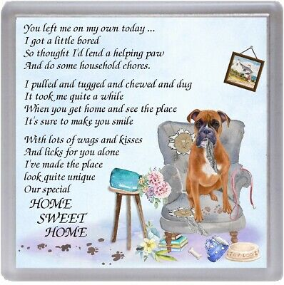 Boxer Dog Coaster  HOME SWEET HOME Poem ....  Novelty Gift By Starprint • 3.75£