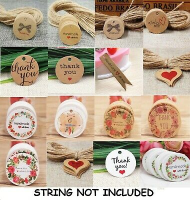 Kraft Paper Gift Tags Label Thank You Made With Love Christmas Birthday BU1337 • 1.69£