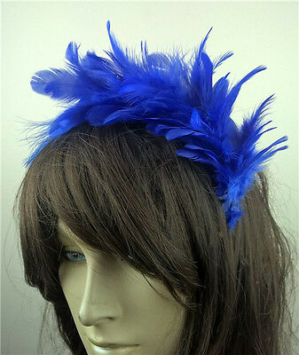 Royal Blue Feather Headband Fascinator Headpiece Wedding Party Race Ascot • 2.90£