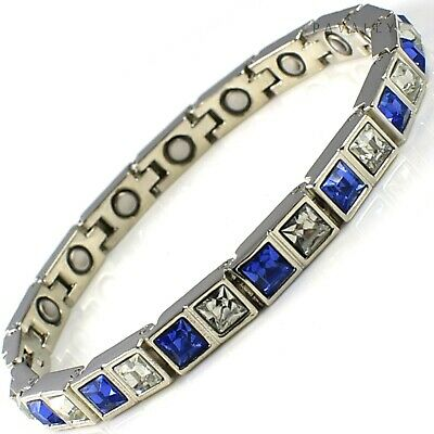 MAGNETIC BRACELET 15 MAGNETS Arthritis Pain Relief Ladies Womens Silver Blue NEW • 9.95£