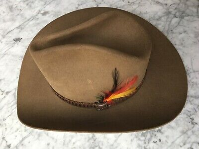 ffcf6a480aa99 Stetson Vintage Stampede Cowboy Hat Acorn 4X Beaver Felt W Feathers 7 1 8