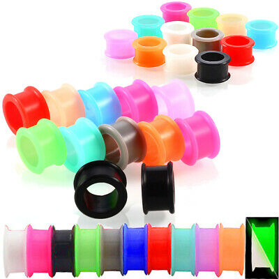 $4.39 • Buy Pair Super Soft Silicone Flesh Ear Tunnels Flexible Plugs Gauges Earrings Eyelet