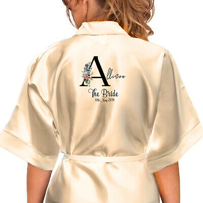 £16.99 • Buy Personalised Satin Robe. Bridal Wedding Party Alphabet Floral Gifts For Her