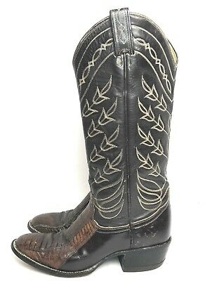 2b5621a7d95db Womens Cowboy Boots Tony Lama Western Size 4.5 B Lizard Tall Brown Leather  • 44.99