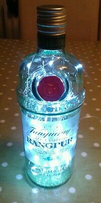 Upcycled Tanqueray Rangpur Gin Bottle With Battery Powered Led Lights Inside • 7£
