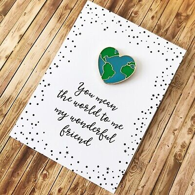 £6.50 • Buy Special Friend Pin Gift - You Mean The World To Me Friendship Present