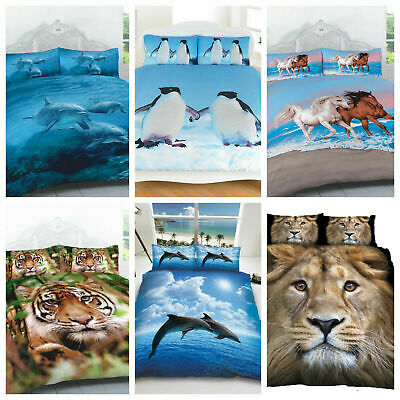 3D Panel Animal Printed Duvet Cover Pillow Cases Quilt Bedding Set In All Sizes • 19.49£
