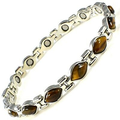 MAGNETIC BRACELET Carpal Tunnel Arthritis Pain Relief Ladies Womens Silver Brown • 8.95£