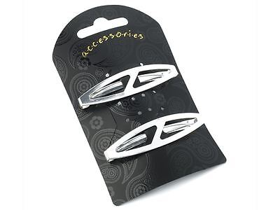 £2.86 • Buy Silver Oval Clips In End Metal Barrette Hair Clips Grips Slides